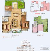 金科城3室2厅2卫144平方米户型图