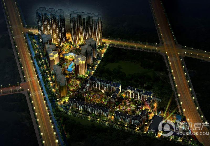 海高伦美林国际社区鸟瞰夜景图