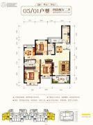 钦州恒大学府4室2厅2卫139平方米户型图