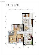 碧桂园中萃公园2室2厅2卫90平方米户型图