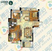 金禾雅居3室2厅2卫89平方米户型图