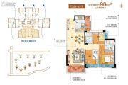 碧桂园琥珀湾3室2厅1卫0平方米户型图
