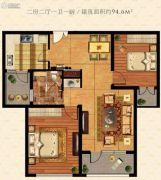 鹏欣水游城2室2厅1卫94平方米户型图