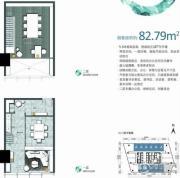 勒泰中心1室1厅1卫82平方米户型图