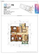 新时代广场3室2厅2卫99平方米户型图