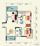 南地海江南2室2厅1卫85平方米户型图