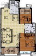 国信紫玉台2室2厅1卫82平方米户型图