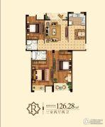 嘉泰城市花园3室2厅2卫126平方米户型图
