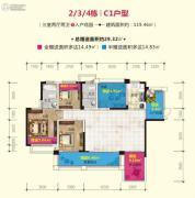金色夏威夷3室2厅2卫119平方米户型图