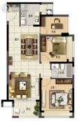 鑫月广场・欢乐海湾2室2厅1卫91平方米户型图