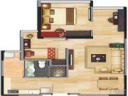中央财津2室2厅1卫0平方米户型图
