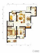 山水泉城3室2厅1卫109平方米户型图