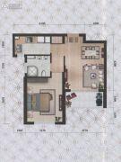 瀚海尊爵1室2厅1卫64平方米户型图
