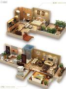 龙湖拉特芳斯2室2厅1卫61平方米户型图
