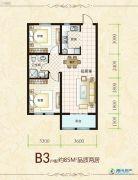 盛秦北苑2室1厅1卫85平方米户型图