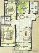 绿都万和城2室2厅1卫97平方米户型图