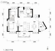 富通旗峰公馆3室2厅1卫92平方米户型图