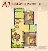 龙湾华府2室2厅1卫84平方米户型图