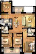 华元欢乐城4室2厅2卫136平方米户型图