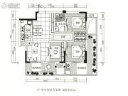 龙江云山墅3室2厅1卫85平方米户型图