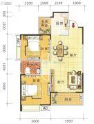 鑫鹏国际2室2厅1卫67平方米户型图