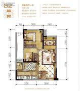 蓝光中央广场2室2厅1卫47平方米户型图