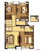 龙湖春江紫宸3室2厅1卫92平方米户型图