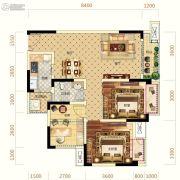 中亿阳明山水2室2厅1卫80平方米户型图