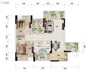 中安止泊园2室2厅2卫88平方米户型图