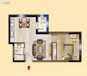 明发锦绣华城1室1厅1卫58平方米户型图