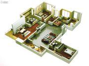 启迪国际城仕家4室2厅3卫161平方米户型图