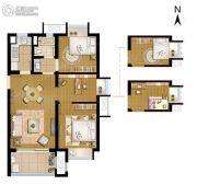 招商学府18722室2厅1卫77平方米户型图