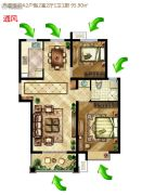 中国铁建原香漫谷2室2厅1卫95平方米户型图