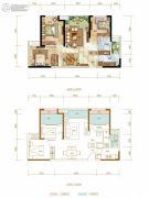 九龙仓时代上城3室2厅1卫84平方米户型图