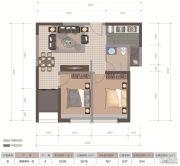 医大广场2室2厅1卫76平方米户型图