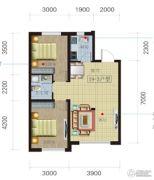 荟萃园2室2厅1卫79平方米户型图