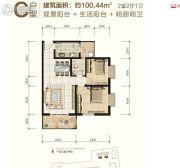 大秦御港城2室2厅1卫100平方米户型图