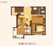 城关江南明珠2室1厅1卫65平方米户型图