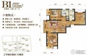中粮万科长阳半岛3室2厅1卫102平方米户型图