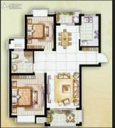金水湾花园2室2厅1卫90平方米户型图