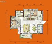 时代花城3室2厅2卫90平方米户型图