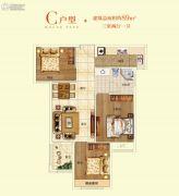 清华大溪地3室2厅1卫89平方米户型图