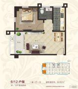 国宾府1室1厅1卫62--65平方米户型图