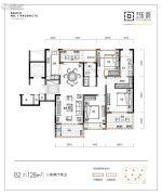 朗诗乐府3室2厅2卫128平方米户型图