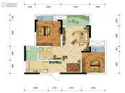 金融街融景城2室2厅1卫57平方米户型图
