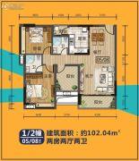 华浩国际城2室2厅2卫102平方米户型图