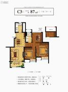 奥克斯缔壹城颐�Z园3室2厅1卫87平方米户型图
