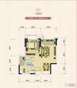 鸿府1室2厅1卫46平方米户型图