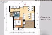 大同・南海馨居1室2厅1卫47平方米户型图