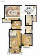 曲江龙邸3室2厅2卫124平方米户型图
